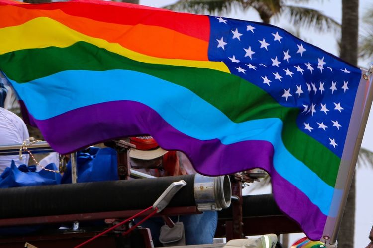 Gay pride parade Miami 2018 Rainbow Flag Gay Pride Flag Gay Pride Gay Pride Parade Flag Patriotism Star Shape Day No People Multi Colored Blue Outdoors Pride City Emotion Low Angle View Love Is Love