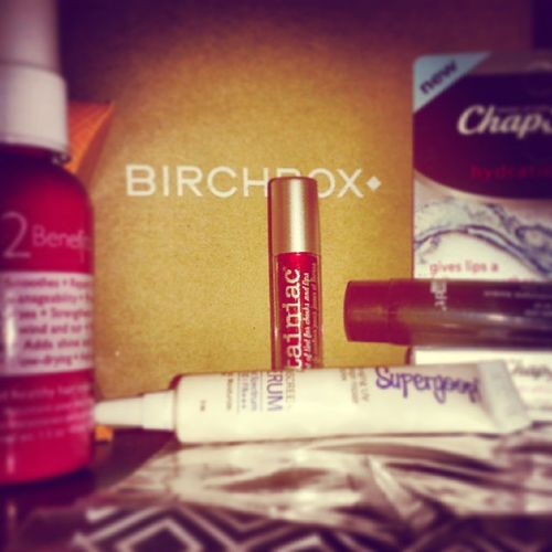 Sample time! 12 Benefits hair treatment, Dr. Brandt skin cream, some Supergoop! serum and cheek stain. Plus, a some fancy Chapstick. Birchbox Samples
