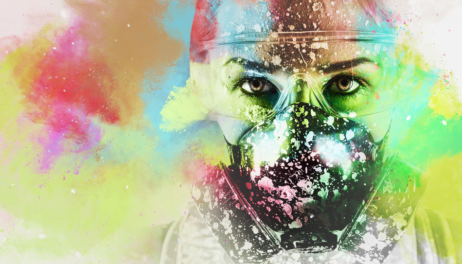 Portrait of a woman with protective filter mask. Image combined with an digital effects. Digital art Bright Colors Builder Collage Art Colorful Computer Generated Construction Construction Worker Contractor Digital Art Digital Illustration Digital Watercolor Effects & Filters Occupation Paint Profession Protective Filter Mask Renovation Repair Respiratory Mask Watercolor Woman Work Worker WorkWear Young Woman