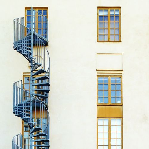 Exterior spiral stairs