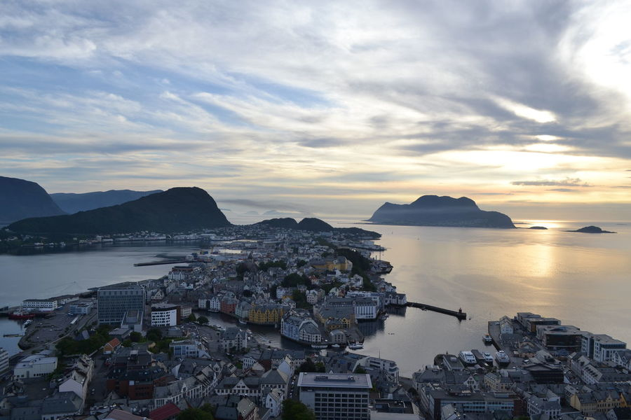 Alesund City City Few Cliff Cloud Coastline Colourful Colourful Houses Few Horizon Over Water House Mountain Mountain View Mysterious Noorwegen  Norway Outdoors Rock Sea Sky Sun Down Vacation Water
