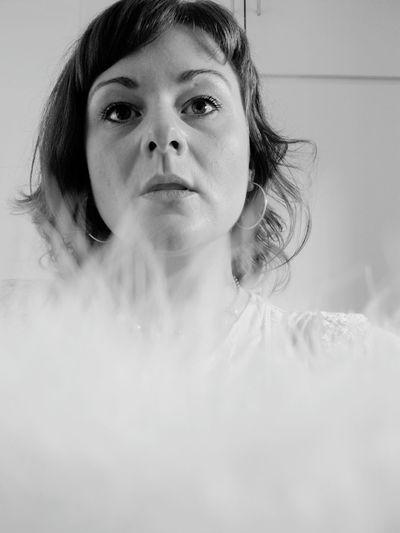 Woman by smoke