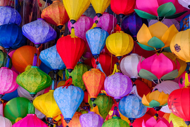 Full frame shot of colorful lanterns hanging for sale at market