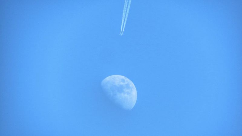Fly To The Moon Airplane Aircraft Contrails Sky_collection Perspective Perspective Photography Taking Photos From My Point Of View Perspectives Looking Up Lookingup Sky Moon Moon_collection