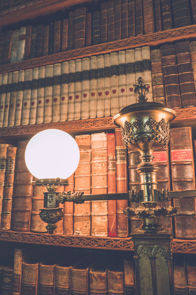 Image of the library at Charlecote Park. Charlecote Park Library Library Lights Light Old Fashioned Way Reading Retro Book Case Bookshelf Globe Historical Indoors  Leather Bound Leather Bound Books Lighting National Trust No People Nt Retro Styled Study