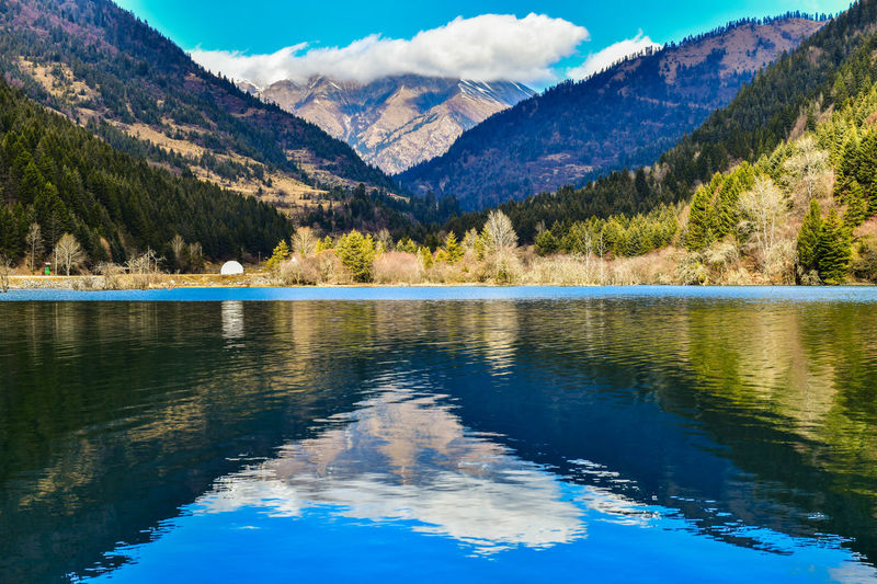 Water Mountain Beauty In Nature Reflection Scenics - Nature Tranquil Scene Lake Sky Tranquility Tree Cloud - Sky Mountain Range Plant Day Nature Non-urban Scene Idyllic No People Blue Outdoors MaoXian China