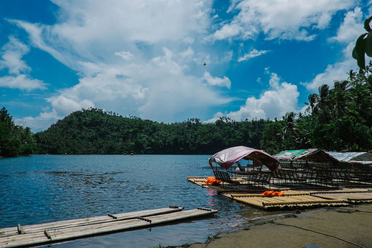 Beauty In Nature Cloud - Sky Day Lake Nature Outdoors Pandinlake Philippines Scenics Sky Tranquility Travelph Travelphotography Tree Water Wooden Raft Wtn_adventures