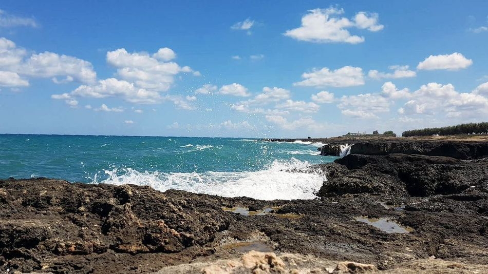 Sea Cloud - Sky Scenics Beauty In Nature Horizon Over Water Rock - Object Day Outdoors No People Water Landscape Vacations Travel Destinations Blue Wave Branch Apulia Italy Italia Puglia Transportation Beach Sky Nature Sand