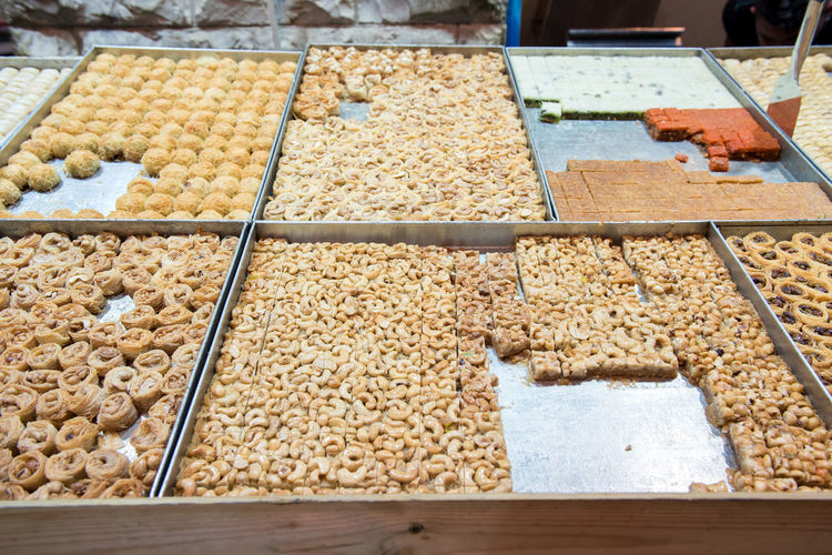Cashew nuts and Turkish delights in the bazaar Food And Drink Food Freshness Market Retail  For Sale Abundance Nuts Seeds Dried Fruits Market Bazaar Oriental Pistachio Almonds Sunflower Seeds Walnuts Peanuts Healthy Eating Organic Food Fruits Middle Eastern Food Vegan Food Yehuda Market