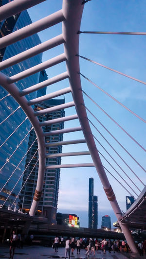 Architecture Bridge Connection Construction Contemporary Design Engineering Footpath Gold Iron Junction Low Angle View Metal Metallic Modern Pole Skytrain Sling Steel Steps Structure Style Tube Walkway White