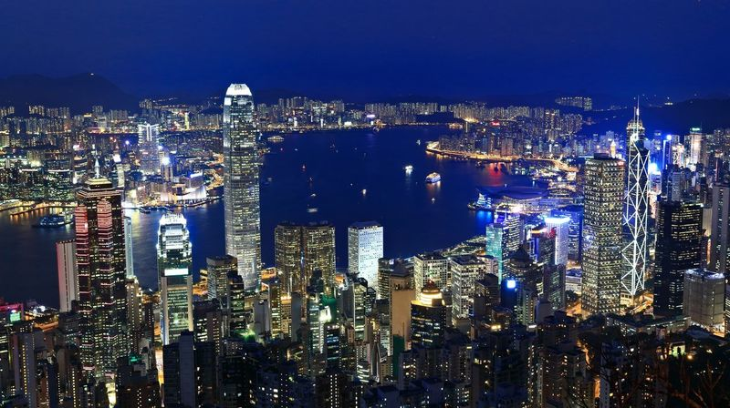 Architecture Building Exterior Built Structure City City Life Cityscape Crowded Financial District  Hong Kong Building Hong Kong Harbour Hong Kong Peak Hong Kong Skyline Hong Kong Style Modern Night Office Building Sky Skyscraper Tall - High Tower Travel Destinations Urban Skyline Water