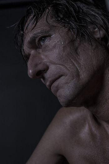 Blue Eyes Low Angle View Shirtless Sweaty Working Out Adult Beautiful People Close-up Handsome Low Key Lighting Low Key Photography Mature Man Older Man One Man Portrait Profile View Real People Serious Shirtlesshunk! Side View Sportive Studio Shot Sweat Wet Face Wet Hair