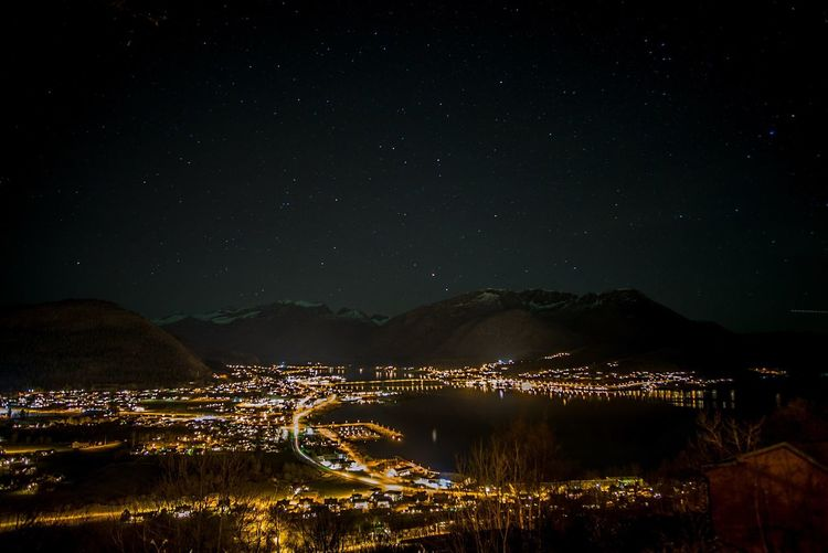 My town at night TOWNSCAPE Town Night View Night Lights Night Nightphotography Fjordsofnorway Fjord Sky Star - Space Illuminated Scenics - Nature Mountain Water Star Beauty In Nature No People Nature Mountain Range Star Field Space Tranquility Astronomy Lake Tranquil Scene Outdoors Architecture