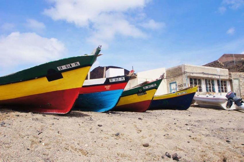 Nautical Vessel Transportation Beach Sand Moored Cloud - Sky Nature No People Sea Day Sky Outdoors Water Beach Photography Cap Verde Travel Destinations Boats Multicolors  Tranquility Beauty In Nature