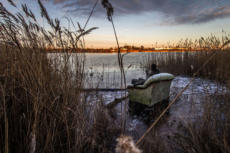 Beauty In Nature Couch Frozen Lake Frozen Landscape  HDR Ice Lake Nature Outdoors Reed - Grass Family Sunset Water First Eyeem Photo