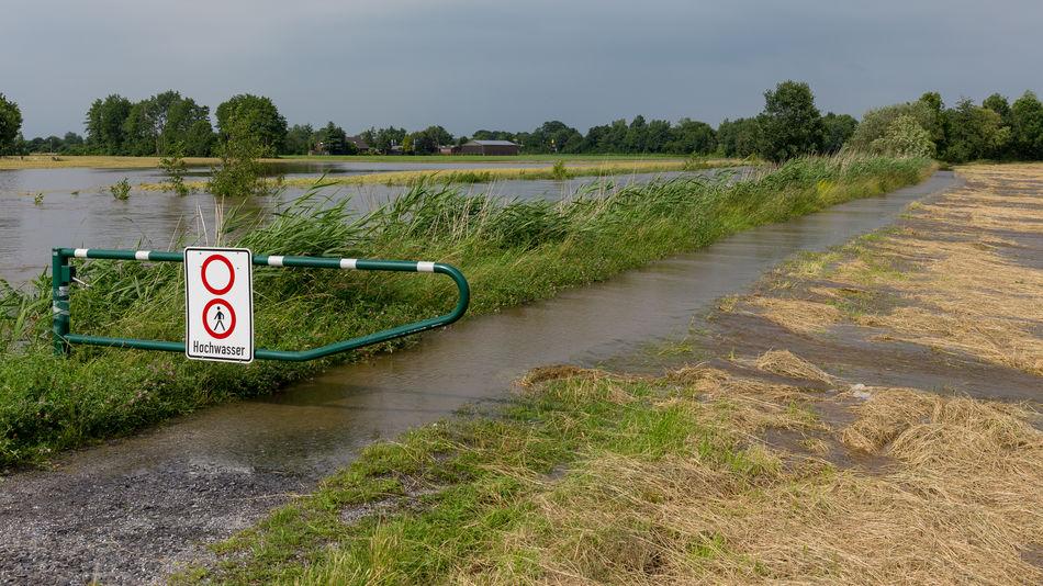 Flood Protection Flooded Flooding River High Water High Waters  Flood Flooding High Tide High Water Level Münsterland Rhede River Spate Thunderstorm Water Wet Feet