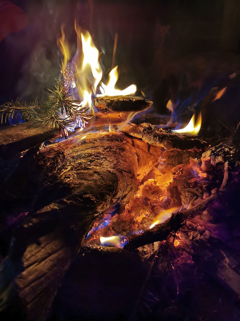 flame, burning, fire, fire - natural phenomenon, heat - temperature, wood, wood - material, log, glowing, firewood, nature, night, bonfire, illuminated, motion, close-up, no people, environment, high angle view, outdoors, campfire