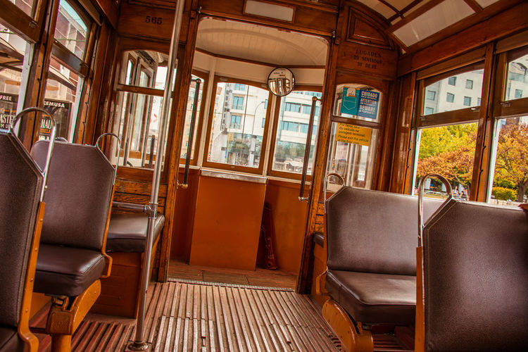 Lisboa Portugal Transport Transportation Tranvía Absence Chair Day Empty Indoors  No People Old Seat Train - Vehicle Tranvia 28 Vehicle Seat Window