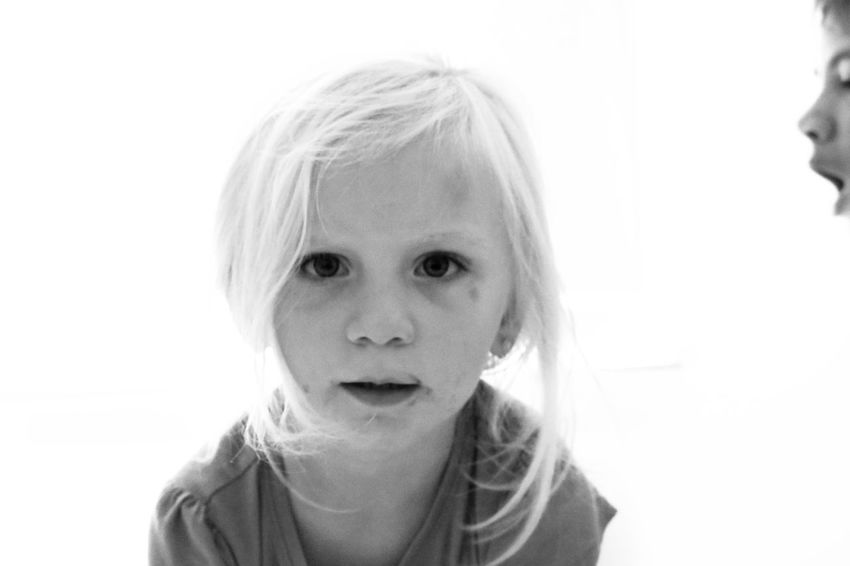 Black And White Friday Childhood Portrait White Background Headshot Front View Studio Shot Child Blond Hair Close-up Real People Day People