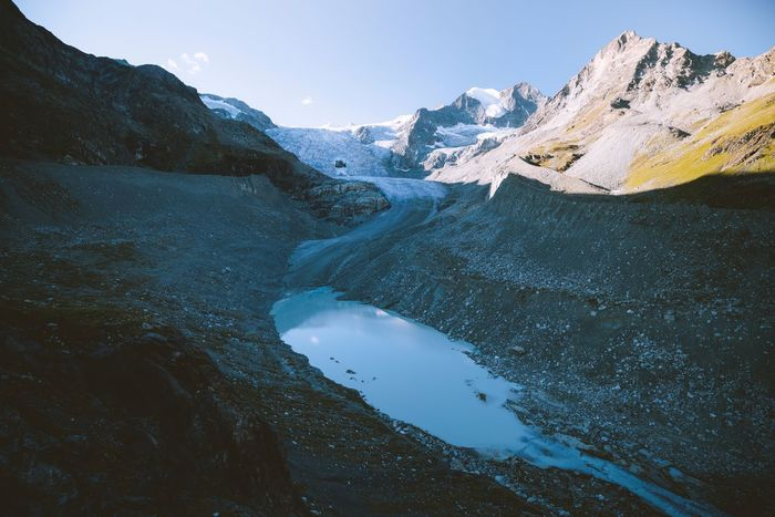Glacier streams VSCO Switzerland Mountain Landscape Valais Mountain Beauty In Nature Scenics - Nature Water Mountain Range Nature Sky Tranquility Tranquil Scene Day Idyllic No People Non-urban Scene Lake Majestic Outdoors Environment Rock Snowcapped Mountain Formation