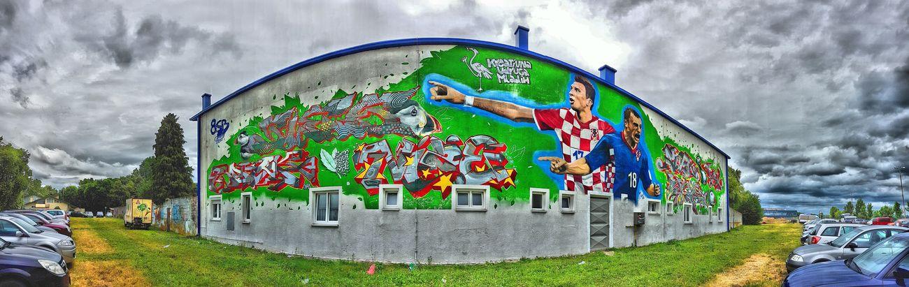 Football Player Heroes Croatia Slavonski Brod National Hero Football Stadium Multi Colored Pixelated Sky Architecture Building Exterior Grass Cloud - Sky Built Structure Street Art Mural Art And Craft Spray Paint Graffiti