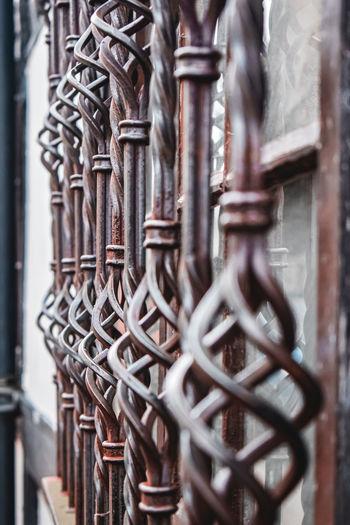 Close up of rusty metalwork on window