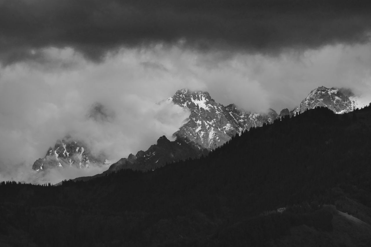 Scenic view of tien shan mountains against cloudy sky
