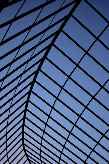 Arbor Architectural Feature Backgrounds Blinds Blue Close-up Day Full Frame Low Angle View Modern Office Building Park Pattern Pergola Repetition Sky