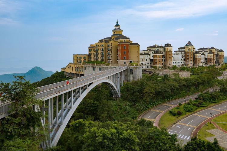 Bridge over buildings in city