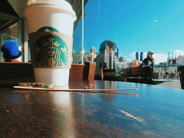 ☕Coffee☕ Brighton Starbucks England VSCO Vscocam C9 Afterlight Snapseed Skrwt Jj  Ink361 Vscoauthentic TheCreatorClass Sky Blue People Coffee Coffeeshots