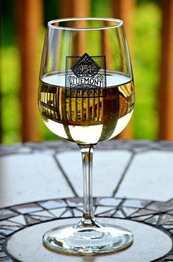 Virginiawine Wineglass Wine Virginia Bluemontvineyard Reflection