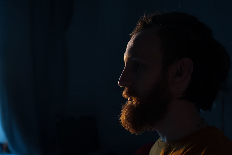 Red beard Adult Adults Only Beard Black Background Close-up Headshot Indoors  Night One Man Only One Person Only Men People Studio Shot Young Adult