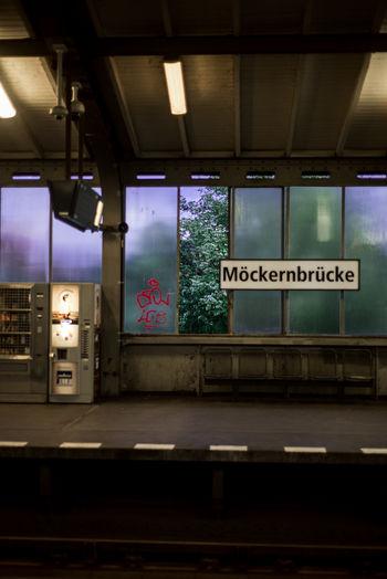 Berlin Architecture City Germany Illuminated Indoors  Night No People Public Transportation Rail Transportation Railroad Track Sign Text Track Train Transportation