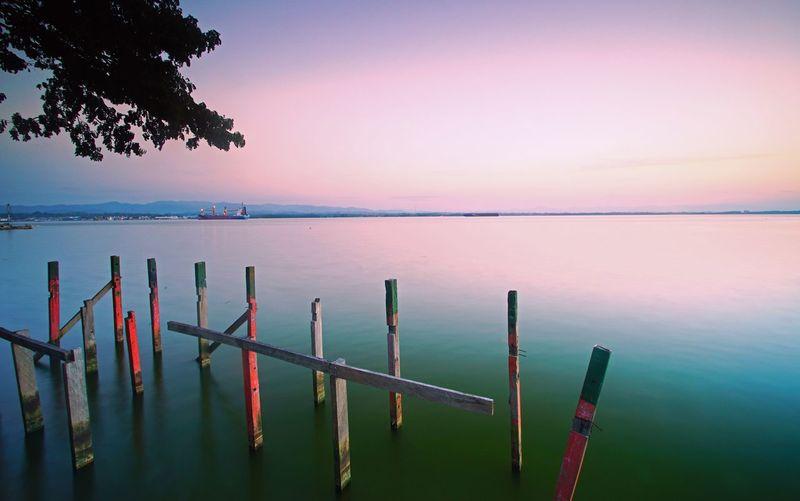 kesunyian yang terasa EyeEm Selects Water Sea Nautical Vessel Sunset Beach Wooden Post Reflection Sky Landscape Horizon Over Water