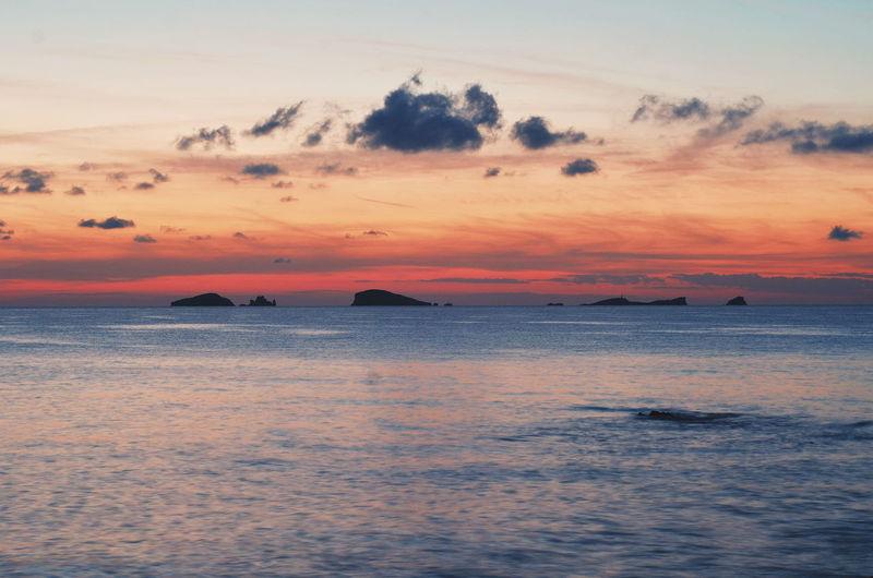 Islands Ibiza Sea Ocean Outdoors Landscape Pink Color Nature Sky Clouds Island Golden Hour Sunset Sunlight Sunrise