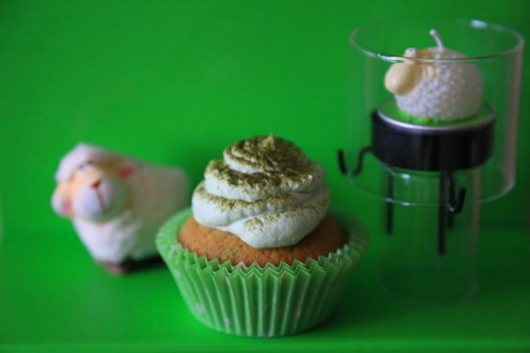 Isolated Easter Deco series Stock Photography Raw Photography The Purist (no Edit, No Filter) Stock Image Noedit Raw Image Raw Nofilter Selective Focus Green Background Temptation Indulgence Green Color Food And Drink Dessert Cupcake Sweet Food Cupcake Colors Sweet Food Easter Green Tea Cup Cake Matcha Cupcake St Patrick's Day Green Color
