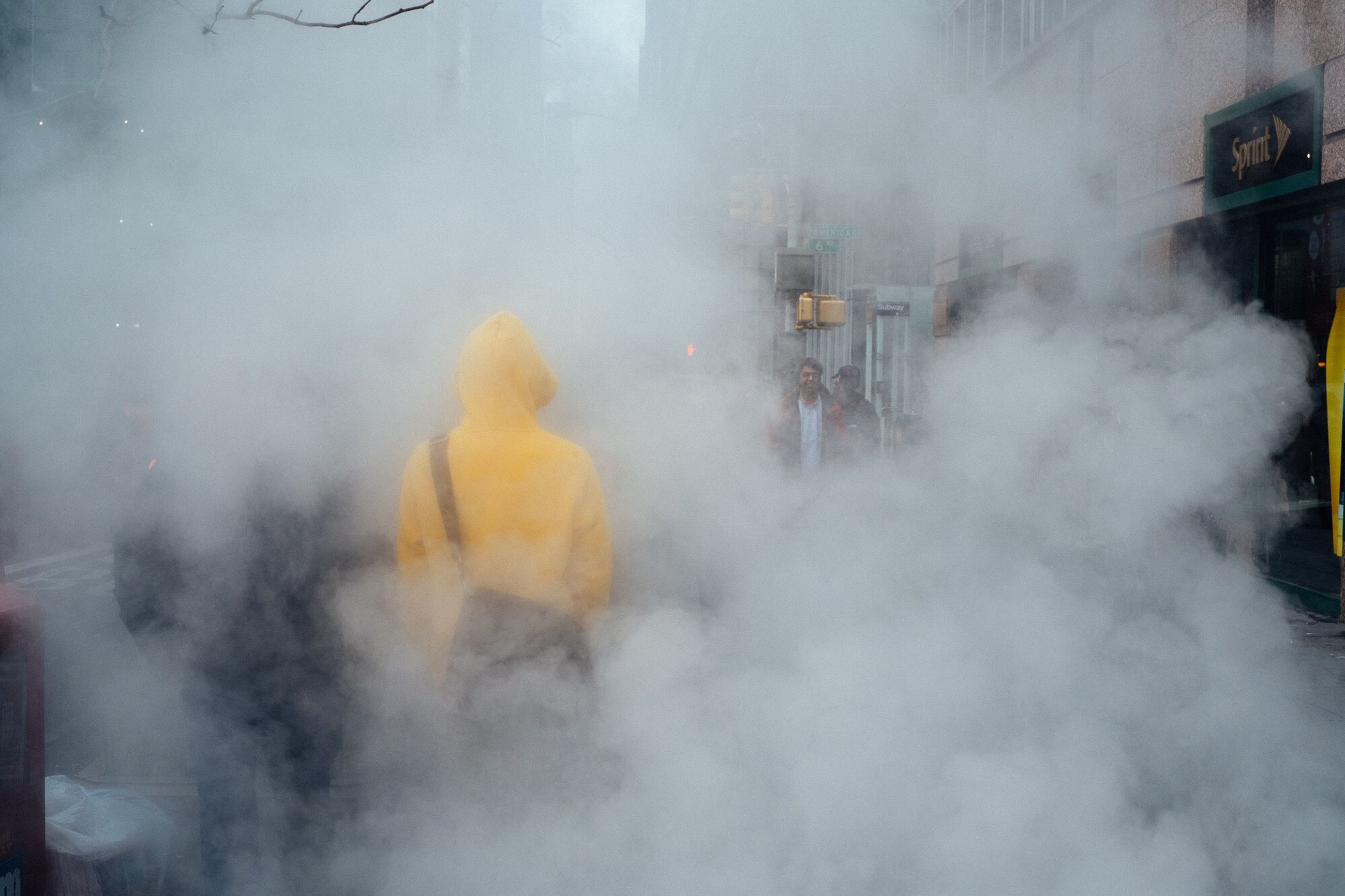 smoke - physical structure, real people, fog, men, city, outdoors, day, people