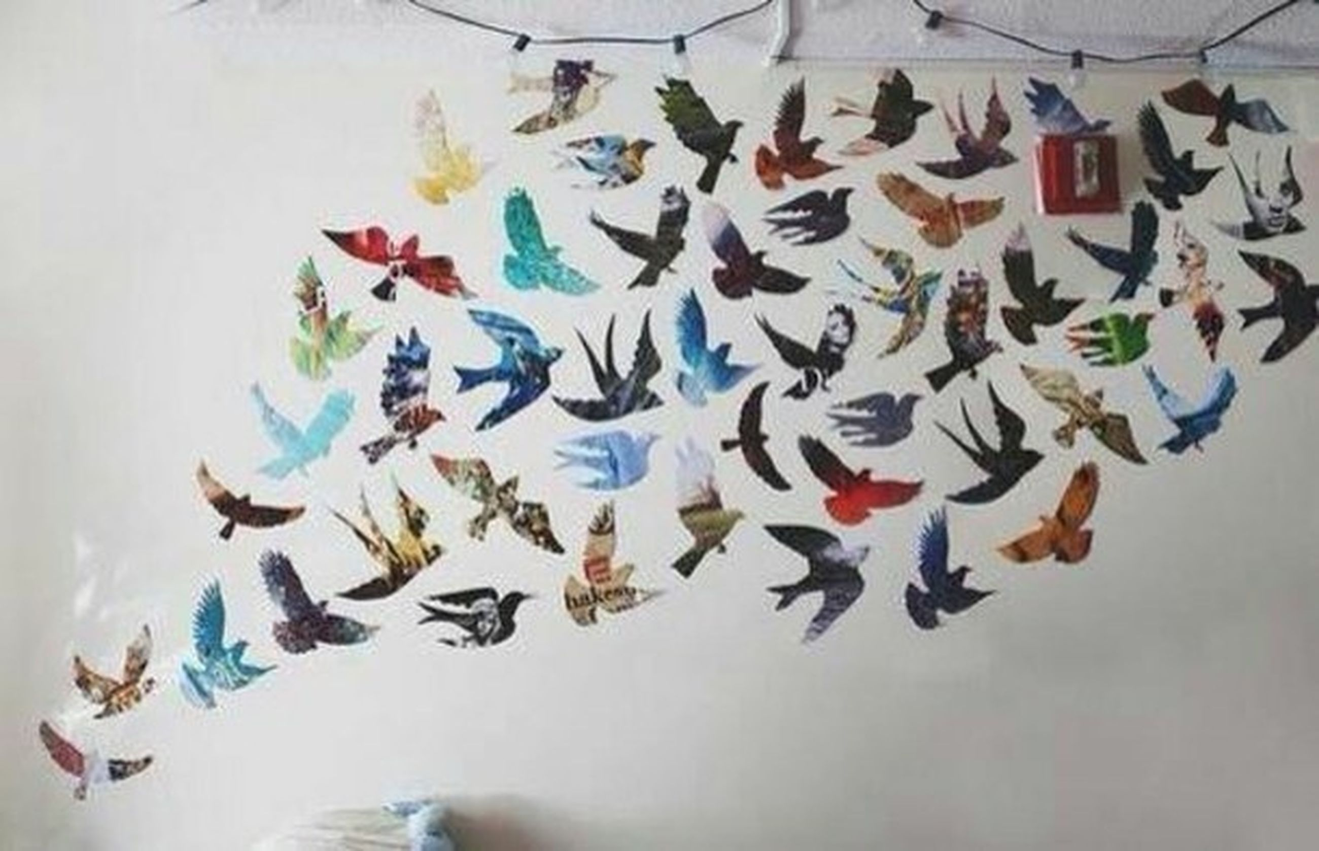 art and craft, art, multi colored, creativity, indoors, animal representation, bird, animal themes, wall - building feature, low angle view, decoration, craft, human representation, pattern, day, flying, no people, high angle view, celebration, colorful