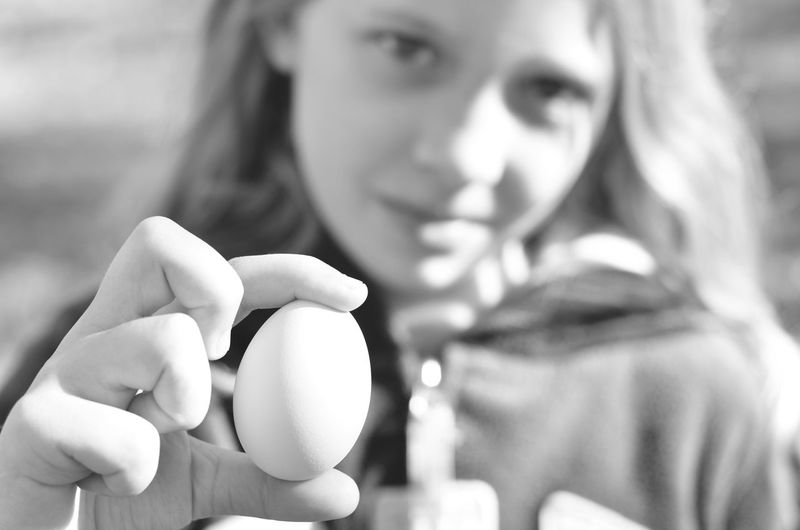 Farm Fresh Casual Clothing Day Egg Farm Fresh Focus On Foreground Girl Holding Egg Holding Lifestyles Selective Focus Black And White