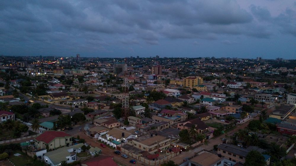 Dusk Dzorwulu Dorofoto Eyeemghana Onefotos Building Exterior City Architecture Built Structure Cityscape Sky Building High Angle View Night Cloud - Sky Aerial View Office Building Exterior
