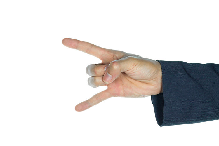 Rock finger symbol of businessman on white middle finger and ring finger by thumb with business of horns Hand Sign Rock Body Part Business Finger Gesturing Hand Hand Sign Hand Sign Isolated Hand Signal Hand Signals Hand Signs Human Body Part Human Finger Human Hand Men Rock Sign Studio Shot White Background