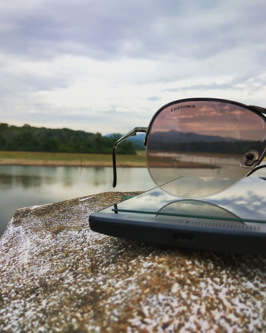 sunglasses, reflection, sky, water, cloud - sky, day, outdoors, no people, tree, nature, lake, close-up