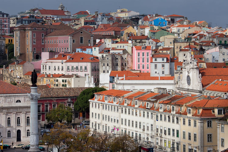 Lisbon historical city center in Portugal Cityscape Houses Old Town Portugal Scenic Travel Architecture Building Exterior Buildings Built Structure Capital City City Europe Historic Historical Homes Lisboa Lisbon No People Old Picturesque Residential Building Travel Destinations Urban Urban Landscape