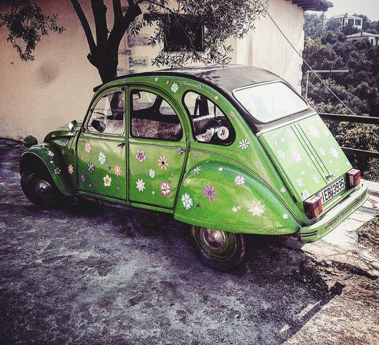 Long Live The Hippies Hippie Car PhonePhotography Phonecamera Greece Street Photo Pilio