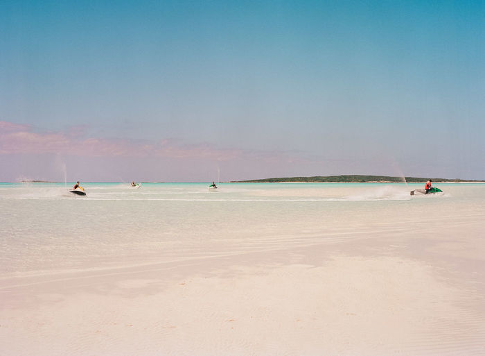 Exuma, Bahamas; film photography; Caribbean; Caribbean sea; ocean; relax; getaway Bahamas Carribean Clear Water Clouds Film Film Photography Horizon Over Water Island Island Life Jet Ski Nature Nautical Ocean Ocean View Peace Quiet Sea Serenity Sky Sunset Transportation Waves