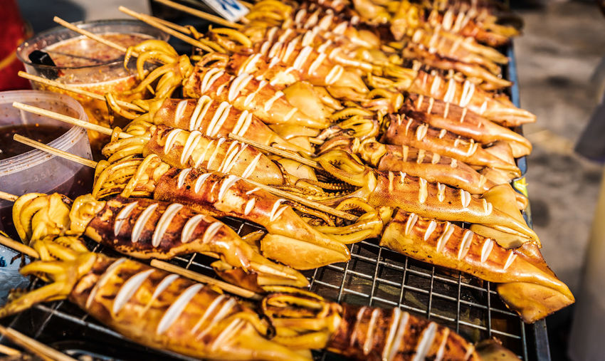 Food Food And Drink Freshness Barbecue Meat Barbecue Grill Grilled Seafood Preparation  Close-up No People Healthy Eating Wellbeing High Angle View Heat - Temperature Still Life Large Group Of Objects Ready-to-eat Skewer Animal Outdoors Preparing Food Snack Street Food