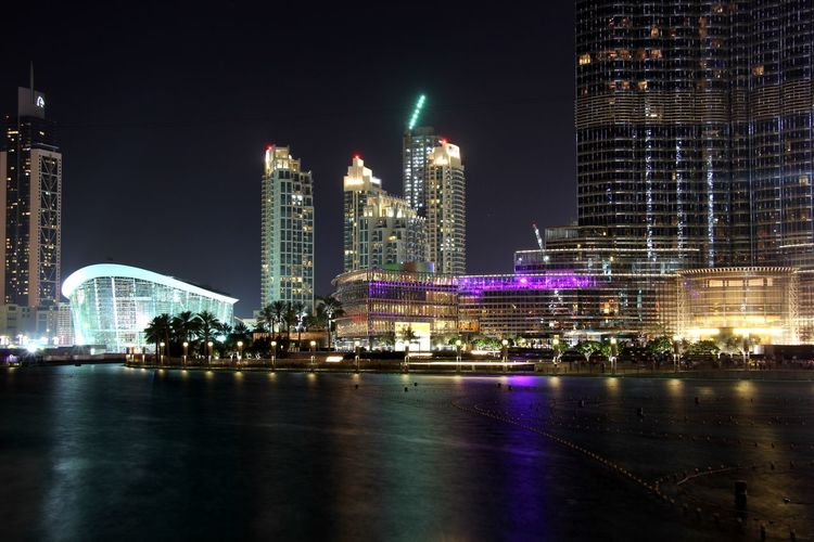 City Dubai Dubai Fountain Dubai Mall Lights Night Reflection Skyline UAE United Arab Emirates