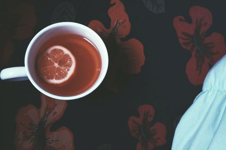 High angle view of fresh drink on table