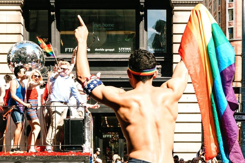 Proud to be pointed. Prideparade Real People Men Shirtless People Built Structure Group Of People Love Is Love Celebration Outdoors Event