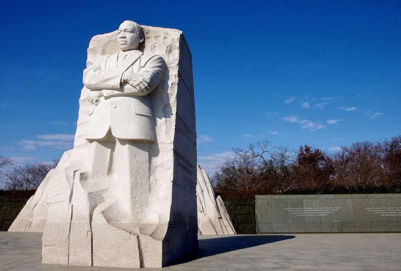 Marble statue of National Martin Luther King Memorial in Washington DC Statue Human Representation Sculpture Art And Craft Male Likeness Sky No People Day Outdoors Civil Rights  Leadership African American Black History Protest March View